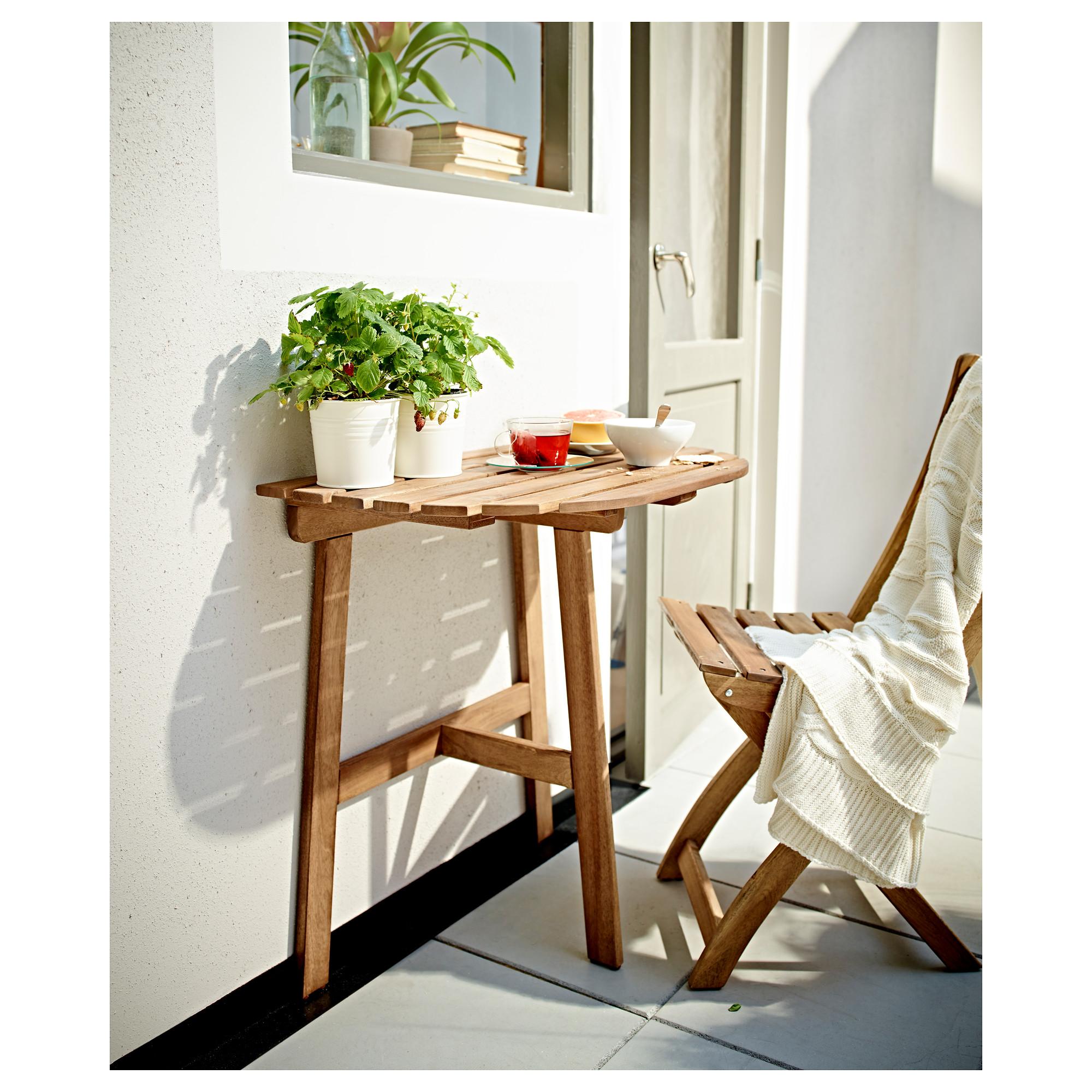 Купить балконный стол+1 складной стул аскхольмен, серый, кор.
