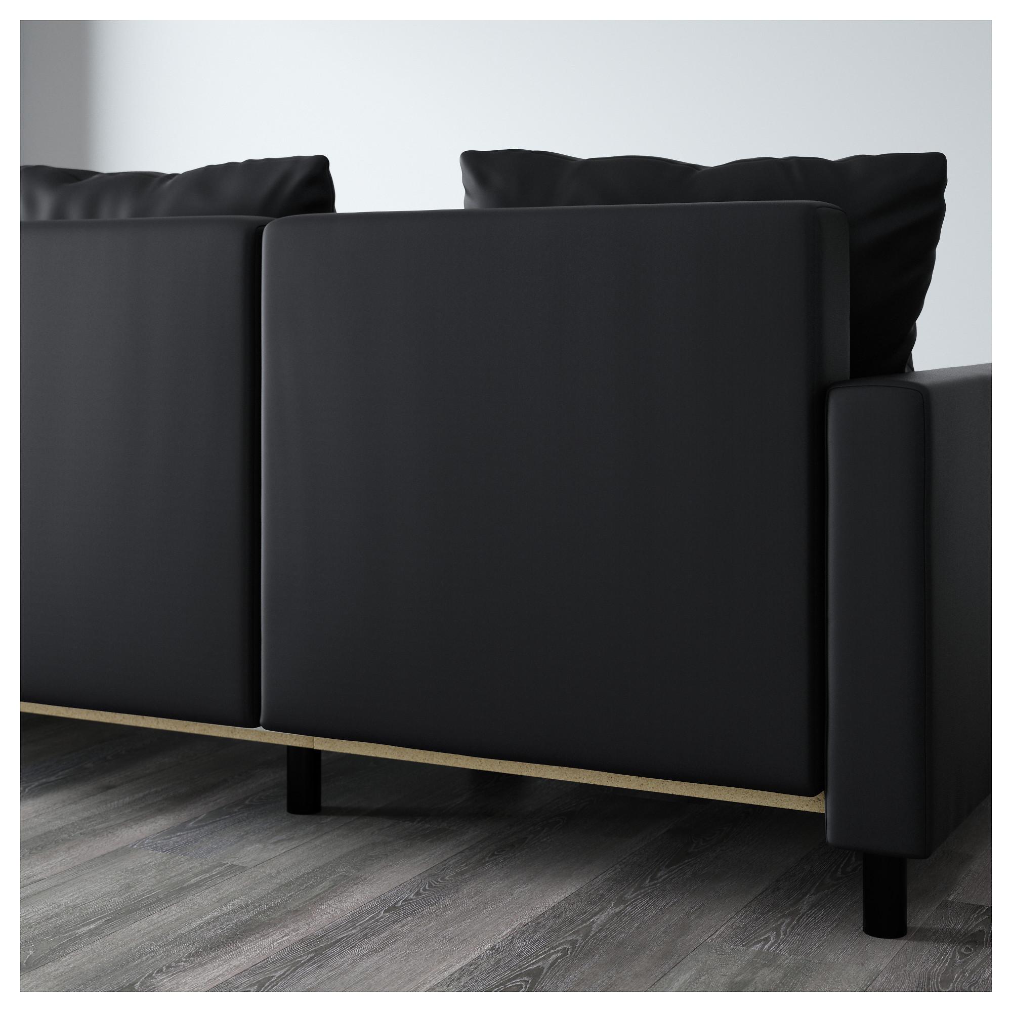 Диван-кровать с козеткой ЛУГНВИК черный артикуль № 502.084.94 в наличии.  Онлайн a361b788a55