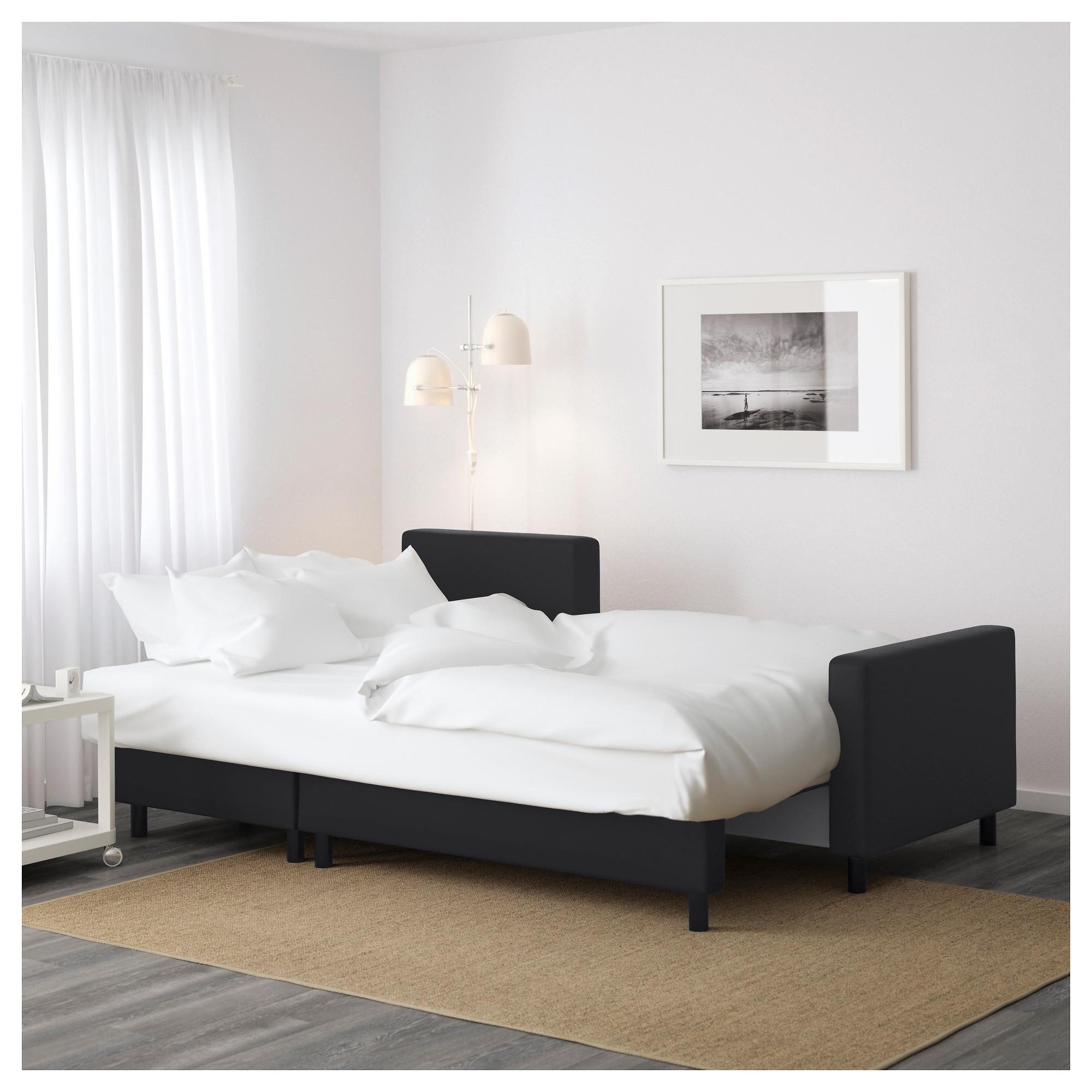 Диван-кровать с козеткой ЛУГНВИК черный артикуль № 502.084.94 в наличии.  Интернет 18a904941e5