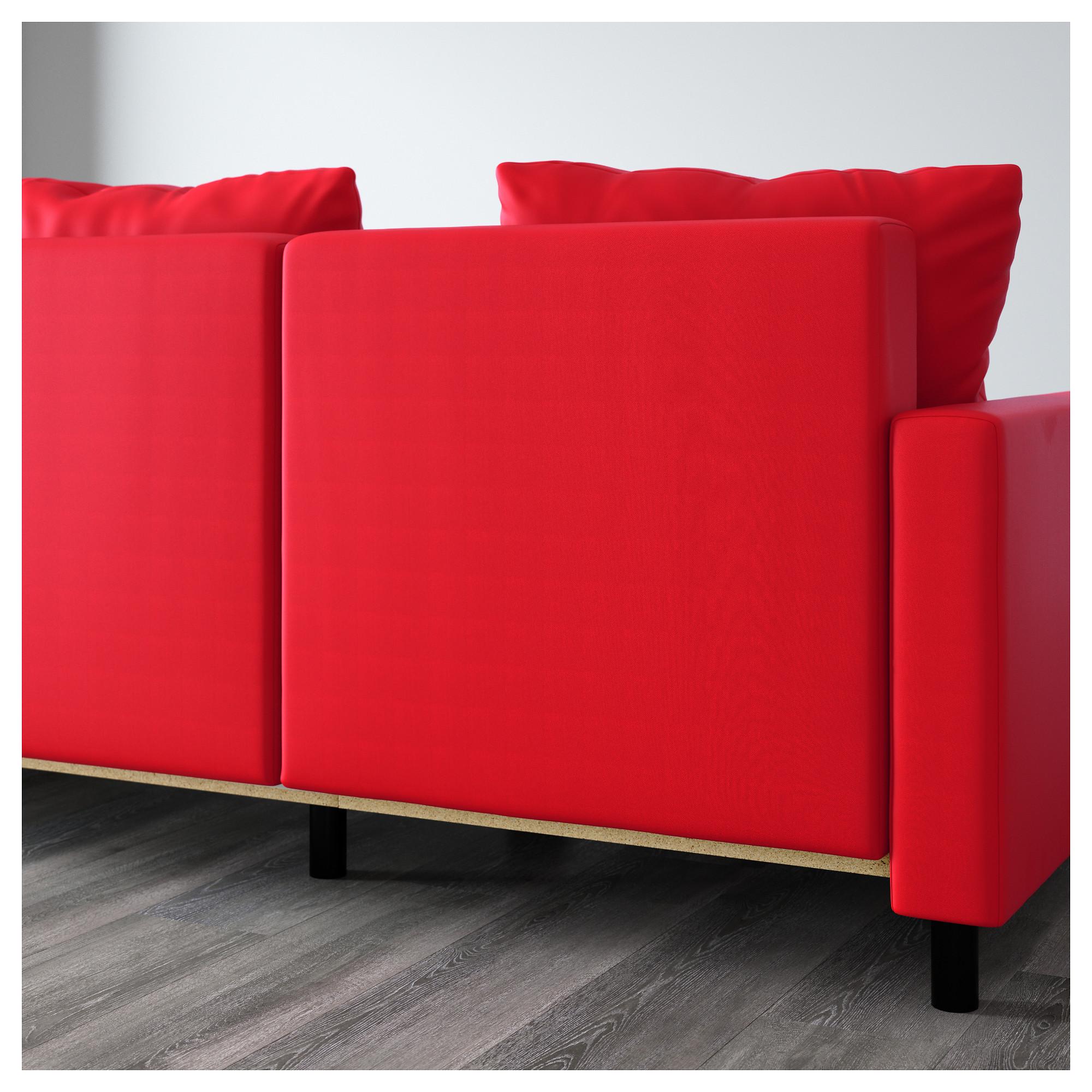 Диван-кровать с козеткой ЛУГНВИК красный артикуль № 702.237.33 в наличии.  Интернет 871417053a6