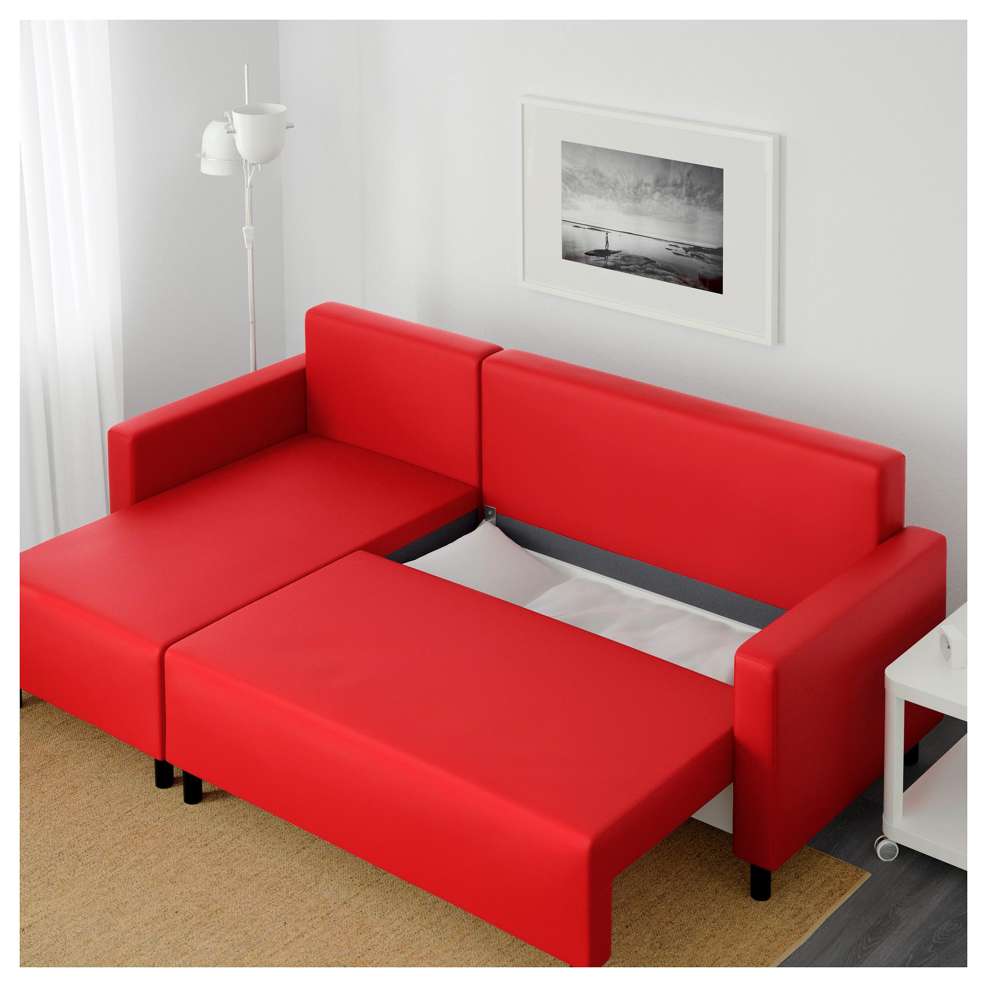 Диван-кровать с козеткой ЛУГНВИК красный артикуль № 702.237.33 в наличии.  Онлайн 583de804934