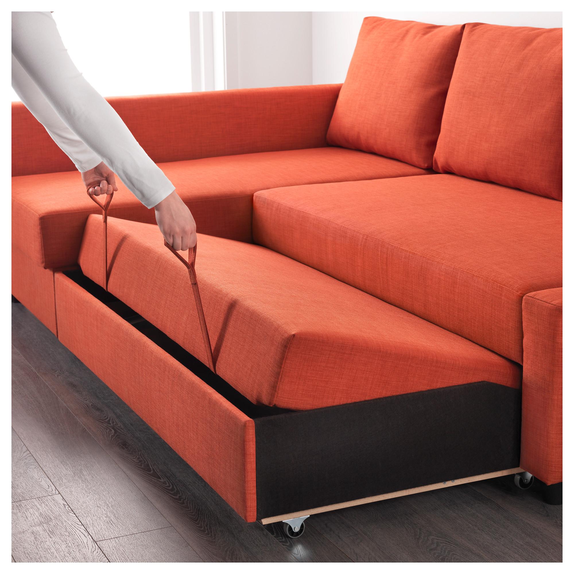 Купить Диван кровать угРовой ФРИХЕТЭН Шифтебу темно оранжевый в
