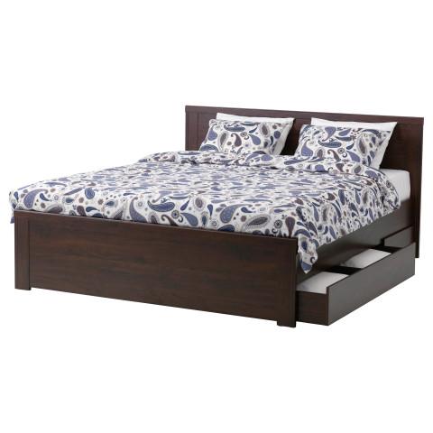 Каркас кровати с 4 ящиками БРУСАЛИ коричневый артикуль № 390.187.68 в наличии. Онлайн каталог IKEA РБ. Быстрая доставка и соборка.