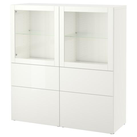 Комбинация для хранения со стеклянными дверцами БЕСТО артикуль № 090.897.57 в наличии. Онлайн магазин IKEA Беларусь. Недорогая доставка и монтаж.