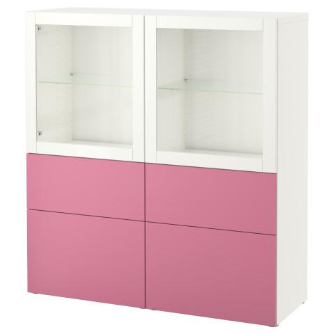 Комбинация для хранения со стеклянными дверцами БЕСТО розовый артикуль № 090.899.41 в наличии. Интернет каталог IKEA РБ. Быстрая доставка и установка.