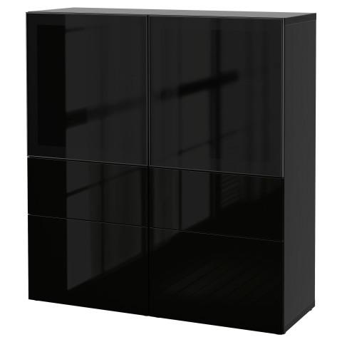 Комбинация для хранения со стеклянными дверцами БЕСТО артикуль № 690.897.83 в наличии. Интернет сайт ИКЕА РБ. Недорогая доставка и соборка.