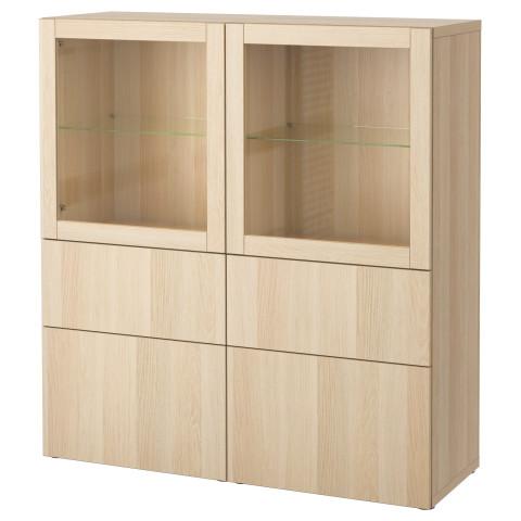 Комбинация для хранения со стеклянными дверцами БЕСТО артикуль № 690.898.15 в наличии. Online магазин IKEA РБ. Быстрая доставка и соборка.