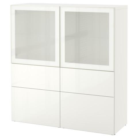 Комбинация для хранения со стеклянными дверцами БЕСТО белый артикуль № 990.898.90 в наличии. Online сайт IKEA Республика Беларусь. Быстрая доставка и установка.