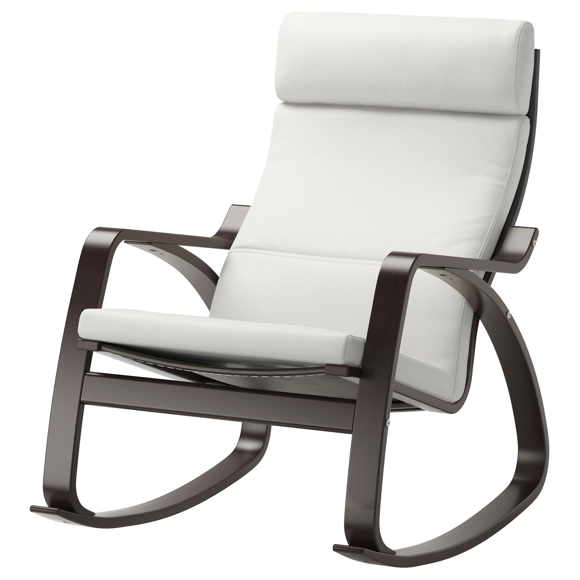 кресло качалка поэнг черно коричневый финнста белый