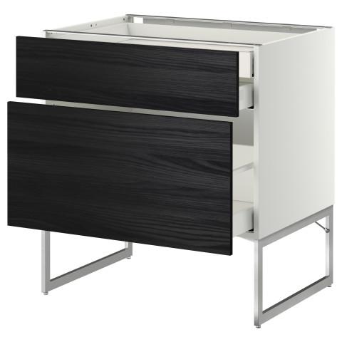 Напольный шкаф 2 фронтальных панели, 2 нижних,1 встроенный ящик МЕТОД / МАКСИМЕРА черный артикуль № 491.068.30 в наличии. Интернет магазин IKEA РБ. Недорогая доставка и установка.