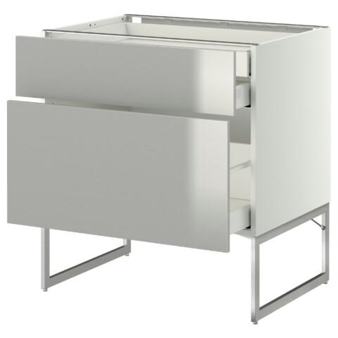 Напольный шкаф 2 фронтальных панели, 2 нижних,1 встроенный ящик МЕТОД / МАКСИМЕРА белый артикуль № 991.067.81 в наличии. Онлайн сайт IKEA Минск. Быстрая доставка и установка.