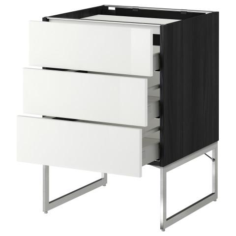 Напольный шкаф, 3 фронтальных панели, 3 ящика МЕТОД / МАКСИМЕРА черный артикуль № 491.084.43 в наличии. Интернет сайт IKEA Беларусь. Недорогая доставка и установка.