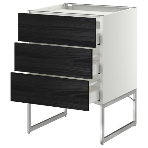 Напольный шкаф, 3 фронтальных панели, 3 ящика МЕТОД / МАКСИМЕРА черный артикуль № 591.084.66 в наличии. Онлайн магазин IKEA Минск. Недорогая доставка и установка.