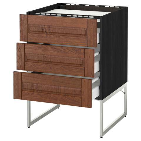Напольный шкаф, 3 фронтальных панели, 3 ящика МЕТОД / МАКСИМЕРА черный артикуль № 691.084.18 в наличии. Онлайн сайт IKEA Республика Беларусь. Недорогая доставка и установка.
