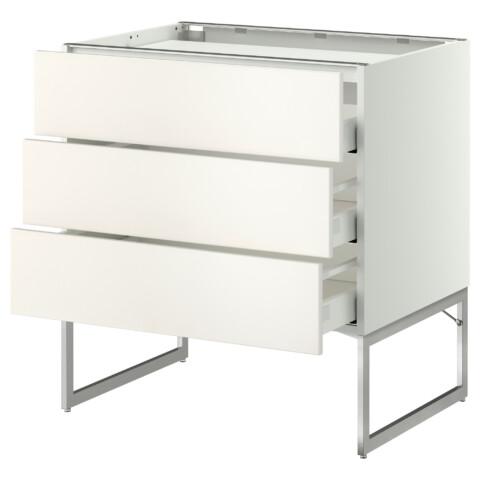 Напольный шкаф, 3 фронтальных панели, 3 ящика МЕТОД / МАКСИМЕРА белый артикуль № 791.085.21 в наличии. Интернет сайт IKEA Минск. Недорогая доставка и установка.
