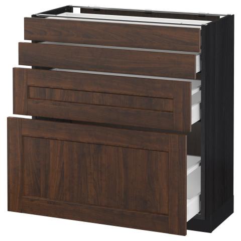 Напольный шкаф 4 фронтальных панели, 4 ящика МЕТОД / МАКСИМЕРА черный артикуль № 091.140.78 в наличии. Интернет магазин IKEA РБ. Быстрая доставка и монтаж.