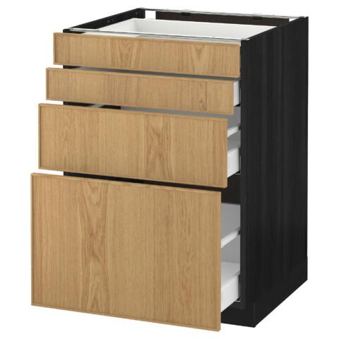 Напольный шкаф 4 фронтальных панели, 4 ящика МЕТОД / МАКСИМЕРА черный артикуль № 191.117.86 в наличии. Онлайн сайт ИКЕА РБ. Недорогая доставка и установка.