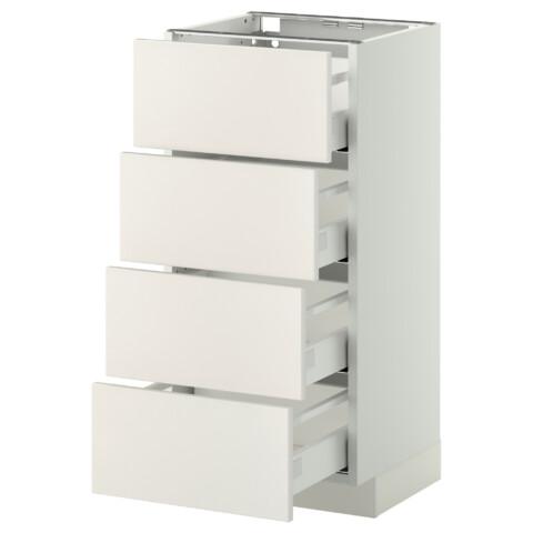 Напольный шкаф 4 фронтальных панели, 4 ящика МЕТОД / МАКСИМЕРА белый артикуль № 491.098.43 в наличии. Интернет сайт IKEA РБ. Недорогая доставка и монтаж.