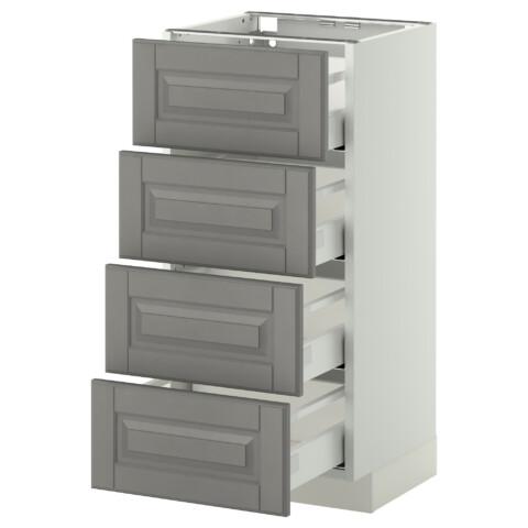 Напольный шкаф 4 фронтальных панели, 4 ящика МЕТОД / МАКСИМЕРА серый артикуль № 591.098.28 в наличии. Онлайн магазин IKEA РБ. Недорогая доставка и соборка.