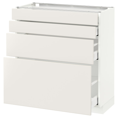 Напольный шкаф 4 фронтальных панели, 4 ящика МЕТОД / МАКСИМЕРА белый артикуль № 591.141.13 в наличии. Online магазин IKEA РБ. Недорогая доставка и установка.