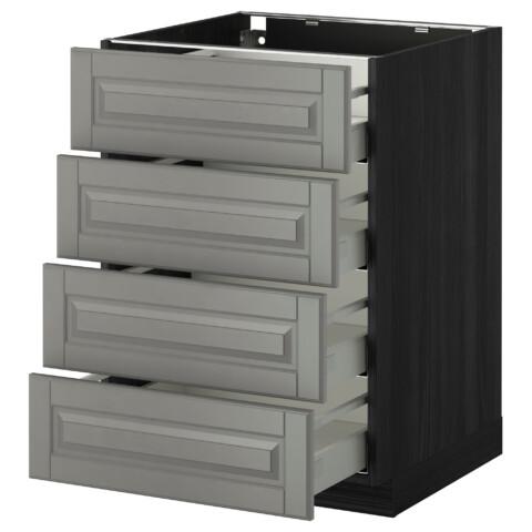 Напольный шкаф 4 фронтальных панели, 4 ящика МЕТОД / МАКСИМЕРА черный артикуль № 691.094.32 в наличии. Online сайт IKEA РБ. Недорогая доставка и соборка.