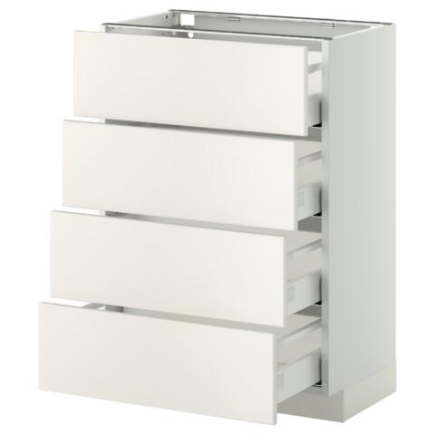 Напольный шкаф 4 фронтальных панели, 4 ящика МЕТОД / МАКСИМЕРА белый артикуль № 891.098.98 в наличии. Онлайн сайт ИКЕА РБ. Недорогая доставка и монтаж.