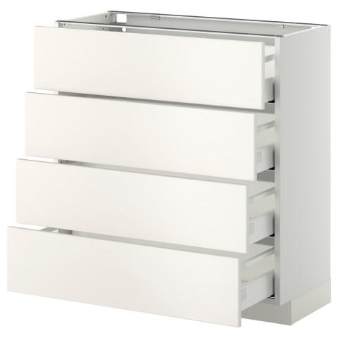 Напольный шкаф 4 фронтальных панели, 4 ящика МЕТОД / МАКСИМЕРА белый артикуль № 891.099.40 в наличии. Онлайн сайт IKEA Республика Беларусь. Быстрая доставка и установка.