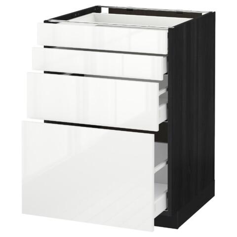 Напольный шкаф 4 фронтальных панели, 4 ящика МЕТОД / МАКСИМЕРА черный артикуль № 891.106.46 в наличии. Онлайн сайт IKEA РБ. Недорогая доставка и соборка.