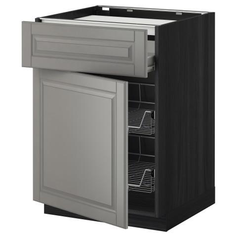 Напольный шкаф для варочной панели, ящик, 2 проволочных корзины МЕТОД / ФОРВАРА черный артикуль № 599.242.31 в наличии. Интернет сайт IKEA Минск. Недорогая доставка и установка.