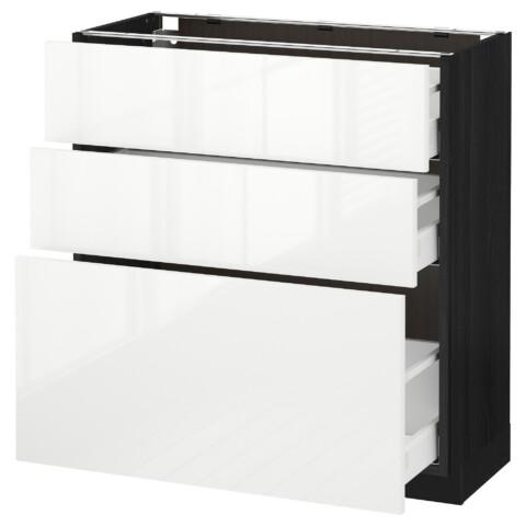 Напольный шкаф с 3 ящиками МЕТОД / МАКСИМЕРА черный артикуль № 091.136.82 в наличии. Online магазин IKEA РБ. Недорогая доставка и установка.