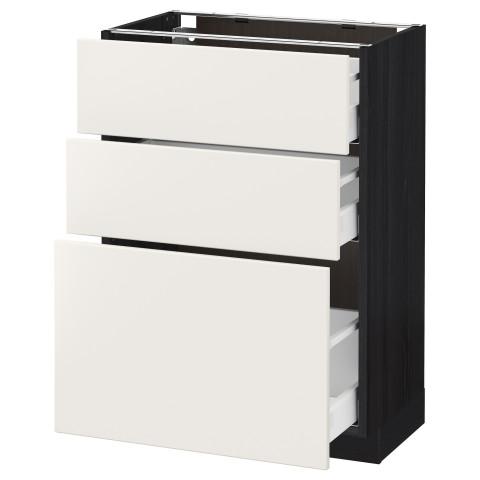 Напольный шкаф с 3 ящиками МЕТОД / МАКСИМЕРА черный артикуль № 391.136.28 в наличии. Онлайн сайт IKEA Республика Беларусь. Недорогая доставка и монтаж.