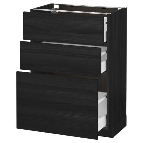Напольный шкаф с 3 ящиками МЕТОД / МАКСИМЕРА черный артикуль № 591.136.27 в наличии. Онлайн каталог IKEA Минск. Быстрая доставка и установка.