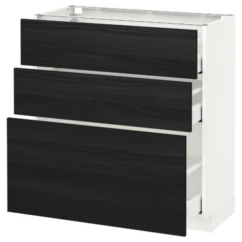 Напольный шкаф с 3 ящиками МЕТОД / МАКСИМЕРА черный артикуль № 791.137.11 в наличии. Интернет сайт IKEA Республика Беларусь. Недорогая доставка и установка.