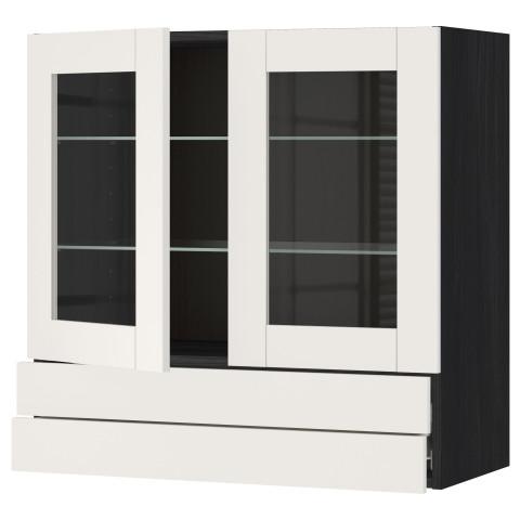 Навесной шкаф, 2 стеклянные дверцы, 2 ящика МЕТОД / ФОРВАРА белый артикуль № 290.643.98 в наличии. Онлайн магазин ИКЕА РБ. Недорогая доставка и соборка.