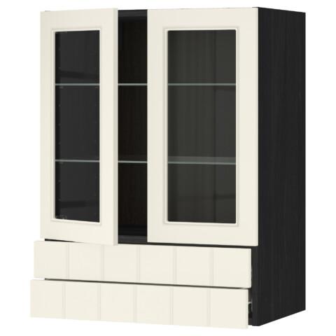 Навесной шкаф, 2 стеклянные дверцы, 2 ящика МЕТОД / ФОРВАРА черный артикуль № 390.557.08 в наличии. Интернет сайт IKEA Минск. Недорогая доставка и установка.