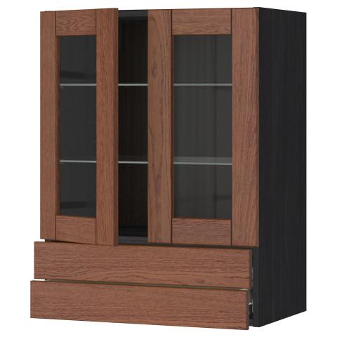 Навесной шкаф, 2 стеклянные дверцы, 2 ящика МЕТОД / ФОРВАРА черный артикуль № 590.528.41 в наличии. Интернет магазин ИКЕА РБ. Недорогая доставка и установка.