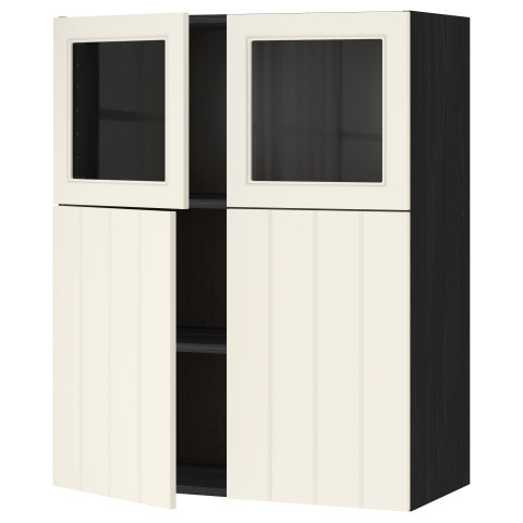 Навесной шкаф, полки, 2 двери, 2 стеклянные дверцы МЕТОД черный артикуль № 790.555.32 в наличии. Онлайн сайт IKEA Республика Беларусь. Быстрая доставка и установка.