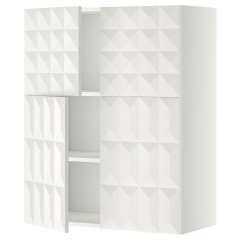 Навесной шкаф с полками, 4 дверцы МЕТОД белый артикуль № 590.112.28 в наличии. Онлайн магазин IKEA Минск. Недорогая доставка и соборка.