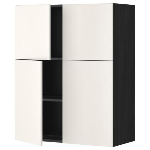 Навесной шкаф с полками, 4 дверцы МЕТОД черный артикуль № 799.179.08 в наличии. Онлайн каталог IKEA РБ. Быстрая доставка и монтаж.