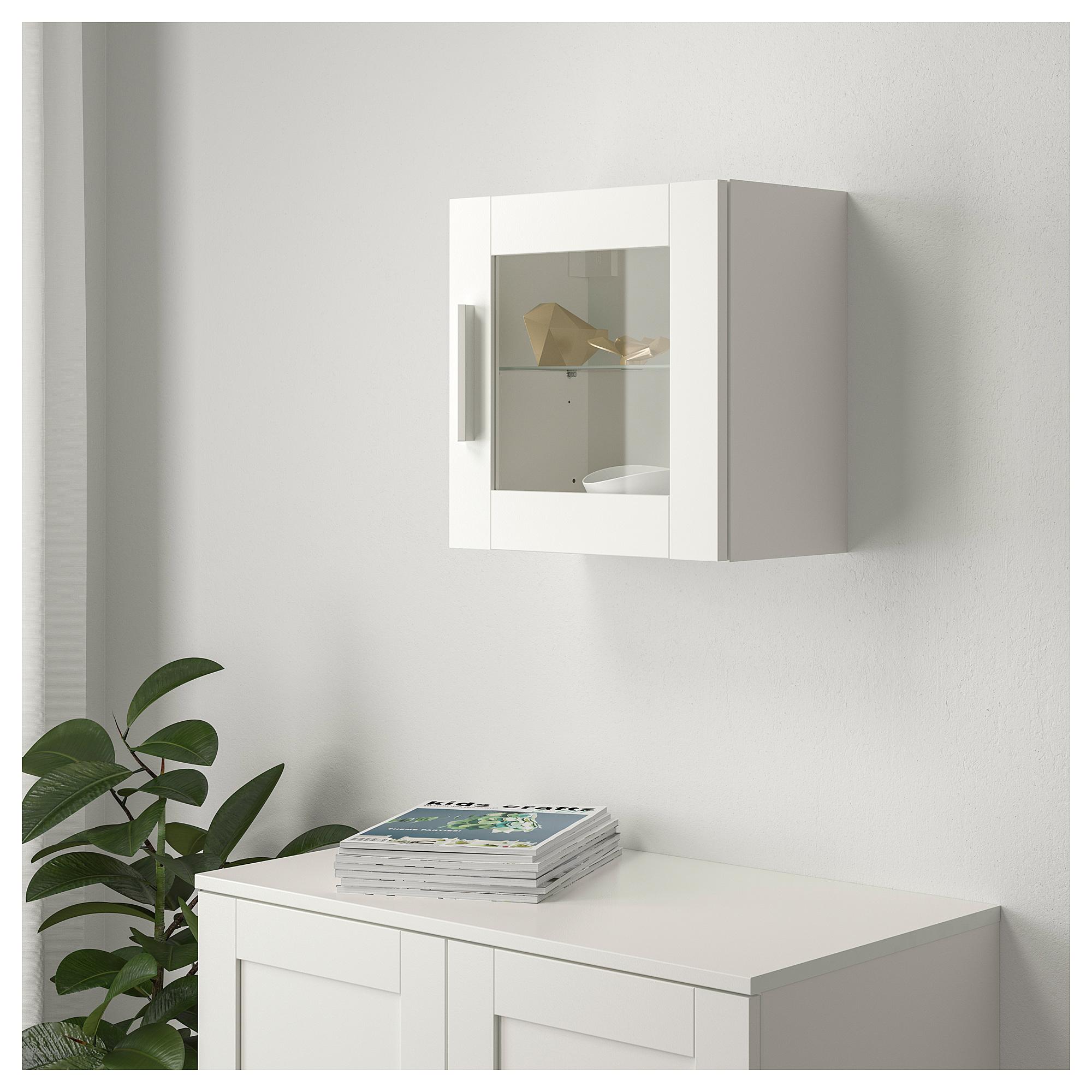 Купить навесной шкаф со стеклянной дверью бримнэс, белый в и.