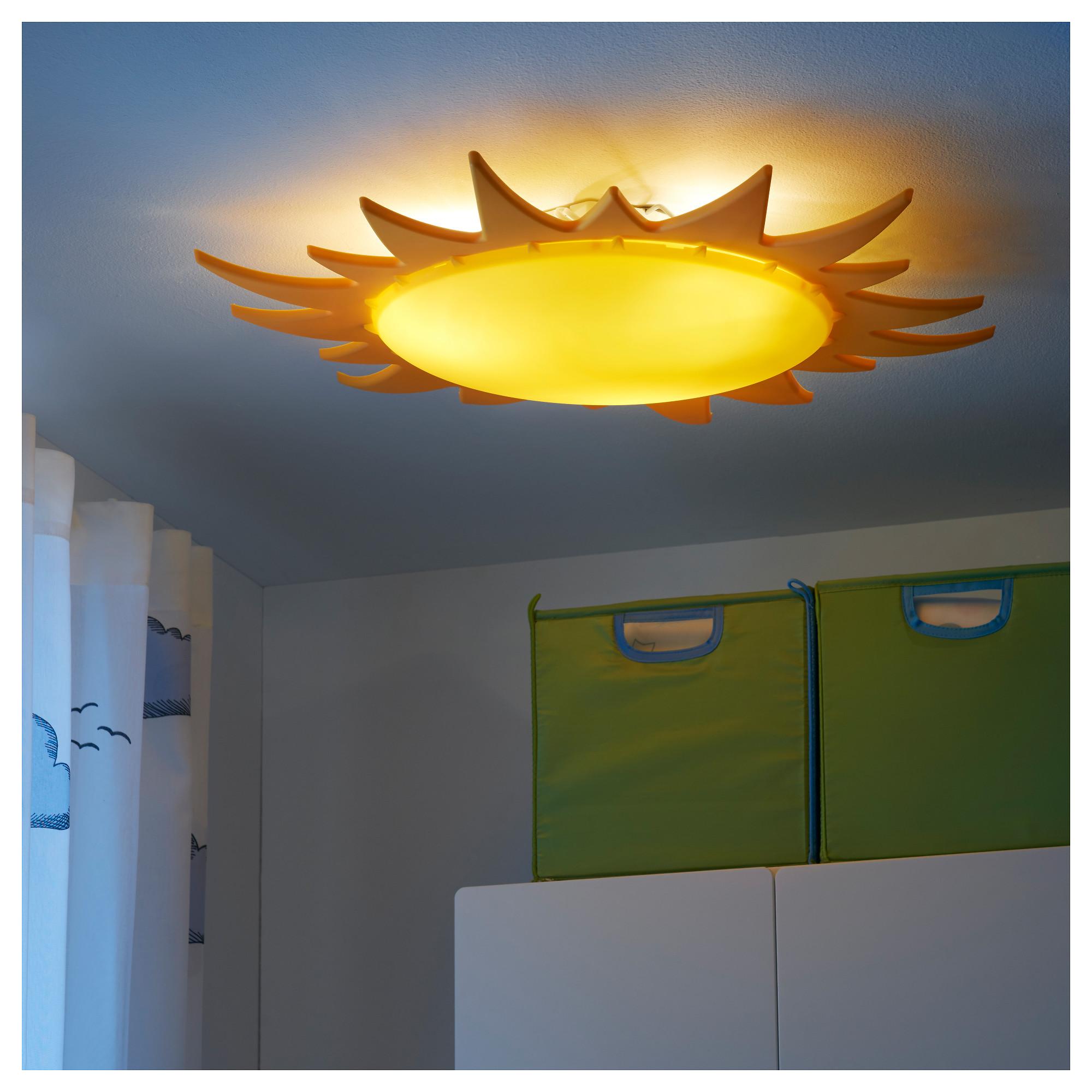 Купить Потолочный светильник СМИЛА СОЛ желтый в ИКЕА