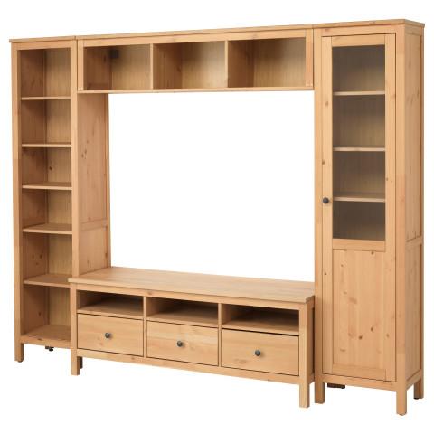 Шкаф для ТВ, комбинация ХЕМНЭС светло-коричневый артикуль № 291.036.01 в наличии. Online сайт IKEA РБ. Быстрая доставка и монтаж.