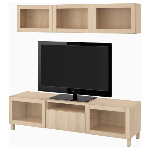 Шкаф для ТВ, комбинированный, стекляные дверцы БЕСТО артикуль № 090.729.45 в наличии. Онлайн магазин ИКЕА РБ. Недорогая доставка и монтаж.