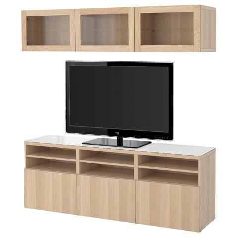 Шкаф для ТВ, комбинированный, стекляные дверцы БЕСТО артикуль № 190.992.18 в наличии. Интернет каталог ИКЕА РБ. Недорогая доставка и соборка.