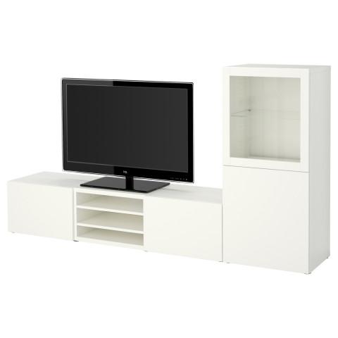 Шкаф для ТВ, комбинированный, стекляные дверцы БЕСТО артикуль № 490.672.92 в наличии. Интернет сайт IKEA Минск. Быстрая доставка и соборка.
