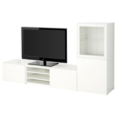 Шкаф для ТВ, комбинированный, стекляные дверцы БЕСТО артикуль № 590.986.41 в наличии. Онлайн сайт ИКЕА Минск. Недорогая доставка и установка.
