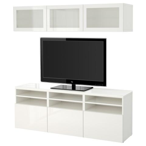Шкаф для ТВ, комбинированный, стекляные дверцы БЕСТО белый артикуль № 591.028.60 в наличии. Онлайн магазин IKEA РБ. Быстрая доставка и установка.