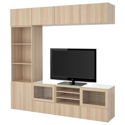 Шкаф для ТВ, комбинированный, стекляные дверцы БЕСТО артикуль № 591.031.19 в наличии. Онлайн сайт ИКЕА РБ. Быстрая доставка и установка.