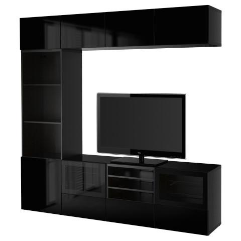 Шкаф для ТВ, комбинированный, стекляные дверцы БЕСТО артикуль № 890.984.80 в наличии. Интернет каталог IKEA Беларусь. Недорогая доставка и установка.