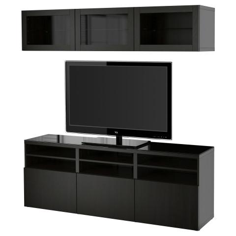 Шкаф для ТВ, комбинированный, стекляные дверцы БЕСТО артикуль № 890.992.10 в наличии. Интернет сайт IKEA Беларусь. Быстрая доставка и монтаж.